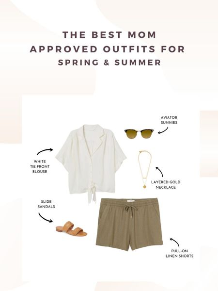 The best mom approved outfits for spring and summer. How to style linen shorts for Summer. #momstyle #casualoutfits http://liketk.it/2OxVq #liketkit @liketoknow.it