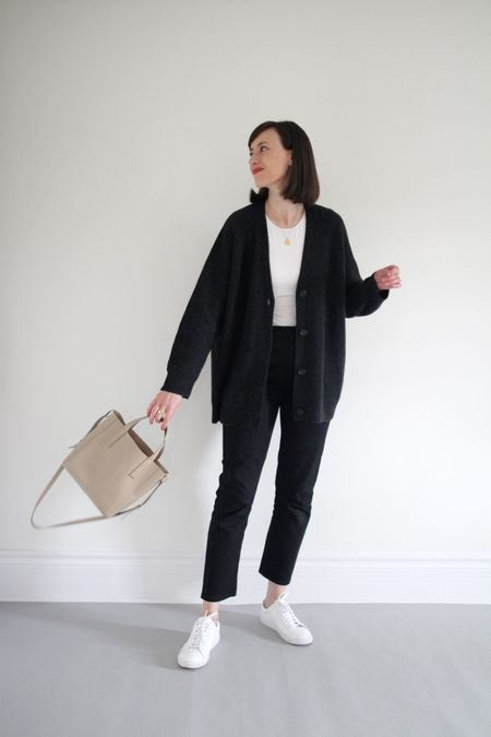 My early fall uniform.   - Cocoon Cardigan - Jenni Kayne - Sized down one size. - Use FRESHSTART for 20% Off through 9/6 or LEE15 for 15% Off anytime.   - Bodysuit - Everlane - TTS - Straight Leg Jeans - Old - similar linked - Sneakers - Oliver Cabell - TTS (full review on the blog) - Bag - Old - Similar options linked.