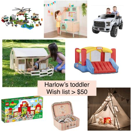 Harlow's toddler girl/boy Christmas wish list 2021 including some past favorites she still enjoys like the campfire tee pee and the Ford F-150 Raptor Power Wheels #toddlerchristmasgiftideas   #LTKHoliday #LTKkids #LTKunder100