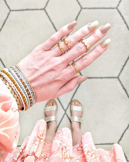 """Jewelry and nails. Nails from Reyna Rose. Use """"JR30"""" for 30% off. Jewelry from Victoria Emerson and Rocksbox. Gemstone sandals from Target. Bracelet stack, boho cuff, ring, summer, gold jewelry. http://liketk.it/3gfsM @liketoknow.it #liketkit #LTKstyletip #LTKunder50 #LTKunder100 #LTKshoecrush"""