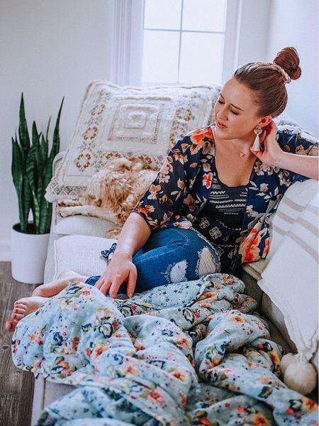Cream sectional, boho pillows, faux snake plant, Vera Bradley weighted blanket, home decor, furniture http://liketk.it/2QvZ7 #liketkit @liketoknow.it #StayHomeWithLTK #LTKhome #LTKsalealert