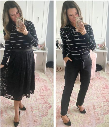 How to style a striped sweater - use code CANDACE15 to save 15% off my top and skirt. Everything is true to size. Wearing a small in each piece. #justpostedblog   Gibsonlook Sweater Fall Skirt  #LTKSeasonal #LTKHoliday #LTKstyletip