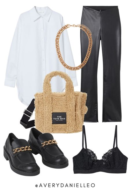 Neutral aesthetic, leather pants, white collared shirt, gold chain  #LTKstyletip #LTKSeasonal