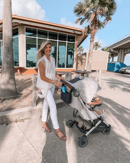Express White lace tank and white jeans. Minu baby stroller http://liketk.it/3hdgD #liketkit @liketoknow.it