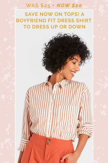 20% Off Women's Tops includes this pumpkin spice button down!  #targetstyle #targetdeals #targetfind