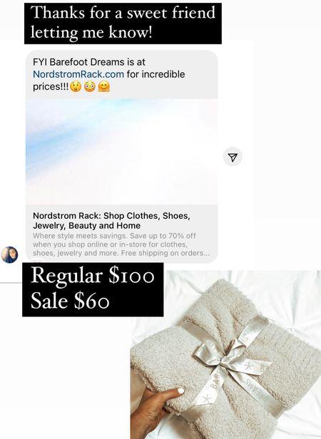Nordstrom rack barefoot dreams cozy chic rib trim throw on sale   #LTKhome #LTKSeasonal #LTKsalealert