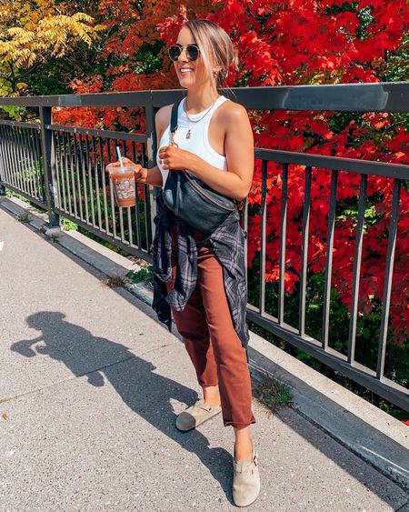 Fall transition outfit with flannel // fall fashion casual express Abercrombie Agolde urban outfitters free people high neck tank top plaid hair clip belt bag   #LTKstyletip #LTKSeasonal #LTKshoecrush