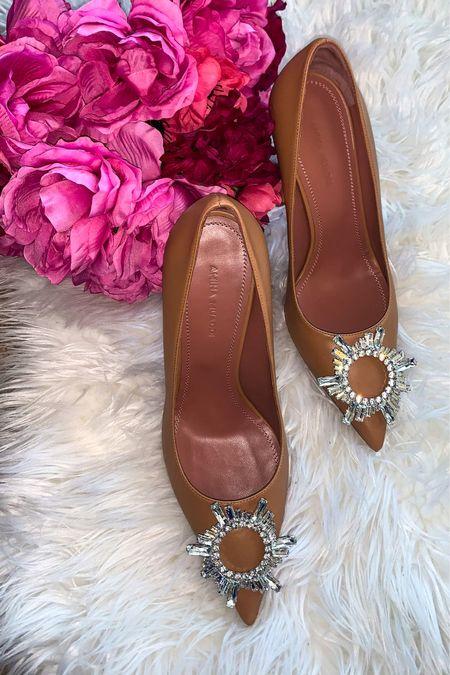 Amina Muaddi Begum Pumps Nude bumps Comfortable heels Brown pumps Brown shoes    #LTKstyletip #LTKshoecrush #LTKwedding