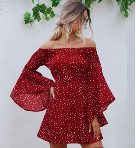 Obsessing over this red dress! The beautiful sleeve detail to the off The shoulder look!   #LTKsalealert #LTKstyletip #LTKSeasonal