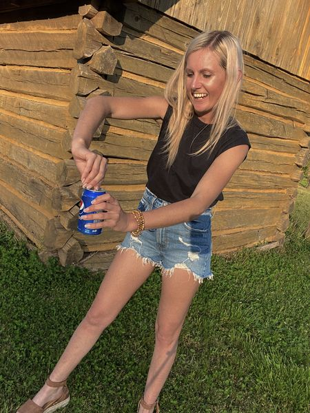 sale Summer date outfit  Abercrombie High Rise Mom Shorts and ribbed one shoulder white top as part of the LTK  Day Sale. These are my favorite denim shorts! Love the distressed look for date night, 4th of July, outdoor party.   #LTKunder50 #LTKDay #LTKSeasonal