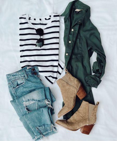 Striped tee on major sale! Target green button down.  Code JEN15 on booties! Code Jen20 on these jeans!    #LTKshoecrush #LTKSeasonal #LTKstyletip
