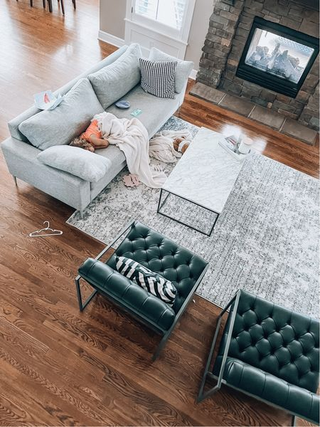 Lazy summer afternoons ❤️ living room, family room, neutral home decor, grey rug, west elm, Amazon home, grey couch, pottery barn, modern home, Ikea, marble coffee table, black chairs, accent chairs   #LTKsalealert #LTKhome #LTKSeasonal
