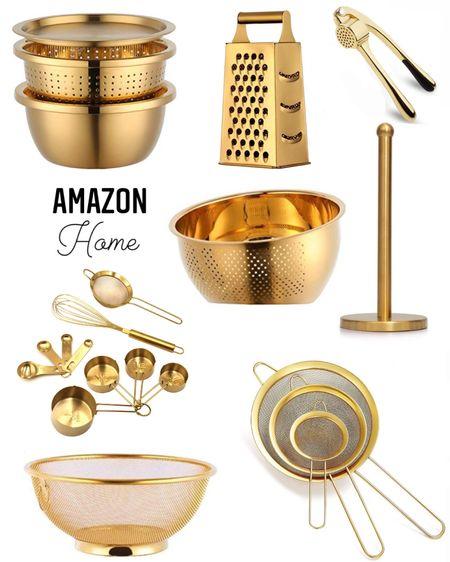 Gold kitchen essentials from Amazon ✨ amazon home, kitchen accessories, kitchenware, kitchen decor, gold colander, strainer, gold paper towel holder, gold measuring cups, glam kitchen http://liketk.it/3hUWu #liketkit @liketoknow.it #LTKsalealert #LTKhome #LTKunder50