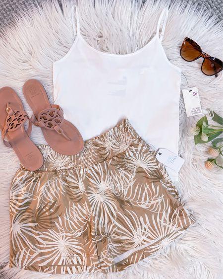 Beach vacation shorts size small / white body suit size medium / Tory Burch Miller sandals size 1/2 size down / summer outfit / style  http://liketk.it/3juhs #liketkit @liketoknow.it #LTKtravel #LTKstyletip #LTKunder50