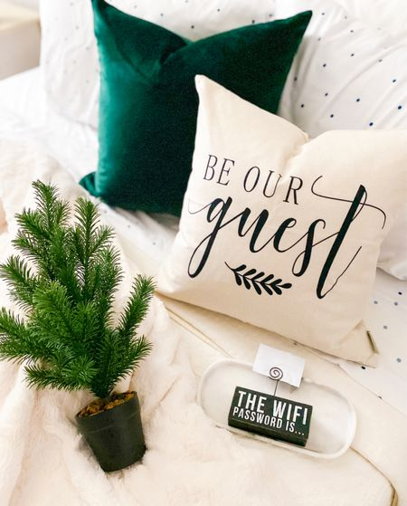 Guest bedroom decor for the guest room - all from amazon!          Guest room, guest bedroom, holiday decor, Christmas decor , amazon home decor , pillow cover, throw blanket , mini Christmas trees , amazon finds #ltkstyletip #ltkseasonal  #LTKunder50 #LTKhome #LTKHoliday