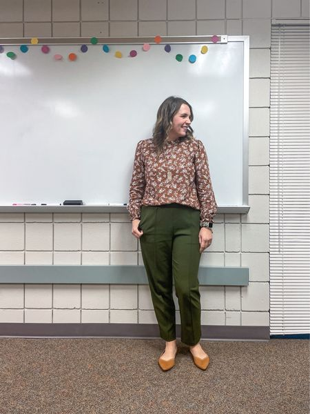 """A pretty floral blouse from Fusion Boutique and easy pants. I'm honestly struggling a little to get dressed in the morning. I know it may not look like it, but I'm in one of those """"throw alllll the clothes out I have nothing to wear!!"""" moods. Do you ever feel that way?  #LTKworkwear #LTKunder50"""