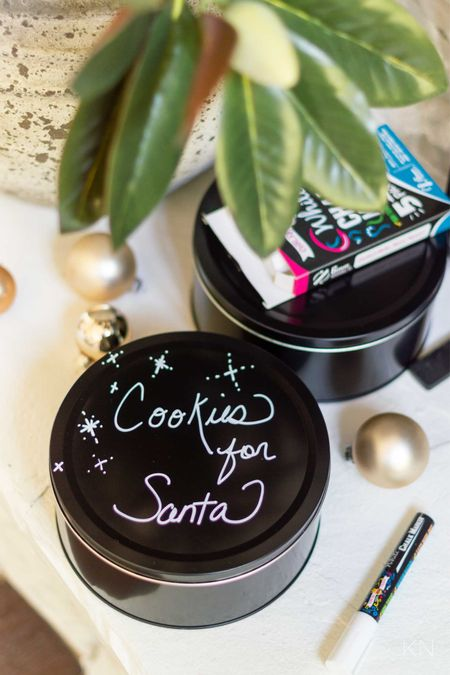 These blackboard cookie tins can be personalized and are great for cookie storage or gifting! Gift idea teacher gift cookies for Santa blackboard pen Walmart find  #LTKHoliday #LTKunder50 #LTKSeasonal