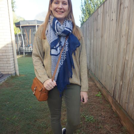 Wearing my vintage gold knit again with some neutral pieces: a little tan Rebecca Minkoff MAB camera bag, olive skinny jeans and a #fashionscarfgirl navy mixed print tassel scarf. Dressed warmly for a busy morning volunteering with friends at the Bunnings Sausage Sizzle for a fundraiser - before lockdown, a few weeks ago. Luckily the fog lifted and it turned into a beautiful sunny day! The scarf quickly came off and my sleeves got rolled up, this was definitely overdressed 😅 Kept the scarf off for my trip to the library with the kids that afternoon too, after we had loaded up on sausages for lunch 😂   ---------------------  --------------- ---------- ------------------ ------------  Screenshot this pic to shop the product details from the @liketoknow.it app, or click here: http://liketk.it/3lr8k #liketkit #LTKitbag #scarfoftheday #everythinglooksbetterwithabag #everydaystyle #realeverydaystyle #wearedonthestreet #opshopstyle #winterstyle #realmumstyle