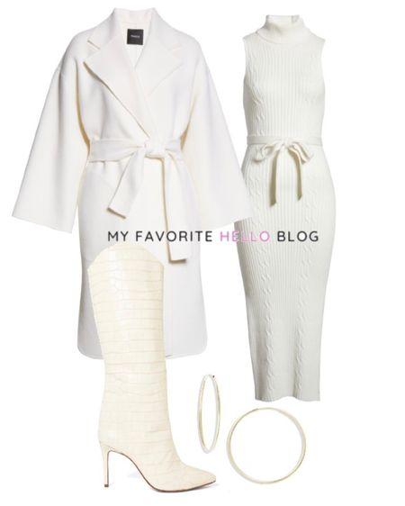 White dress outfit, all white outfit with white dress, white boots and white coat #allwhite #whitecoat #whitedress   #LTKunder100 #LTKstyletip #LTKshoecrush
