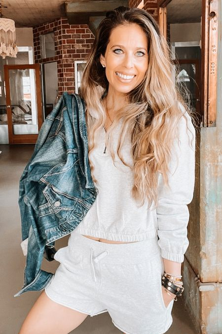 Matching set, grey sweatshirt, pullover, travel outfit, jean jacket, gold bracelets   #LTKstyletip #LTKunder50 #LTKtravel