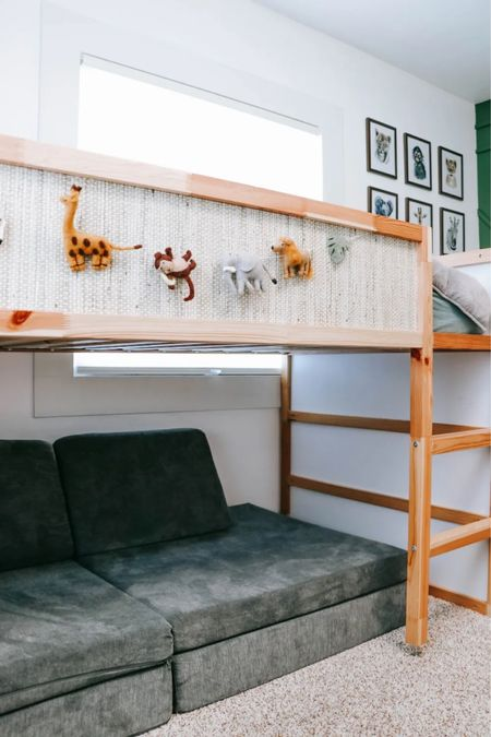 I gave Mason's loft bed a little makeover with peel and stick wall paper to help it fit in with their bedroom decor and safari theme.  #LTKhome #LTKkids #LTKunder50