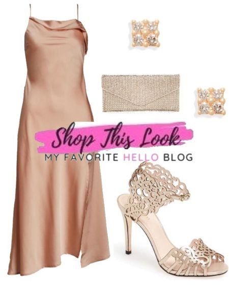 Wedding guest outfit with satin blush dress. What color shoes to wear with a blush dress. #blushdress #weddingguestoutfit #weddingguest http://liketk.it/3iR53 #liketkit @liketoknow.it   #LTKwedding #LTKunder100 #LTKshoecrush