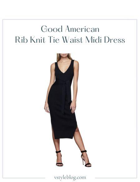 Fall outfits, Teacher outfits, Work wear, Airport outfits, Black midi dress  Good American Rib Tie Waist Midi Dress @ Nordstrom ($149)  #LTKSeasonal #LTKworkwear #LTKfit