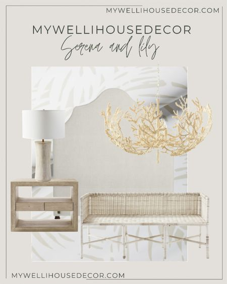 White coastal bedroom inspiration with Serena and Lily furniture  Upholstered headboard, cane bench, wood nightstand, wallpaper, table lamp, chandelier  #LTKhome #LTKSale #LTKsalealert