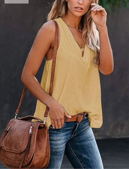 Casual v-neck tank top available in assorted colors. S - XXL Summer staple for casual Summer outfits.  #kimbentley #top #amazon  #LTKunder50 #LTKstyletip