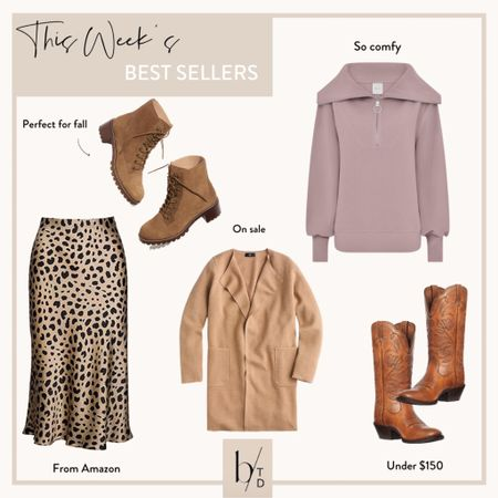 Brighton Butler's top sellers this week include cowboy boots, a barley pullover, the jcrew coatigan, a leopard skirt from Amazon and madewell combat boots.