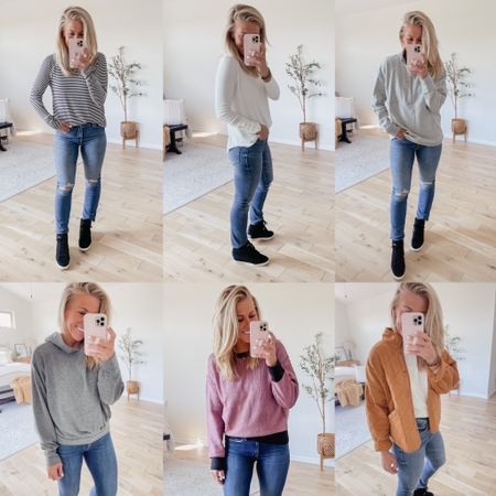 Easy fall outfit ideas! The black wedge sneakers are my favorites. Size down 1/2 size!   #LTKSeasonal #LTKstyletip #LTKunder100