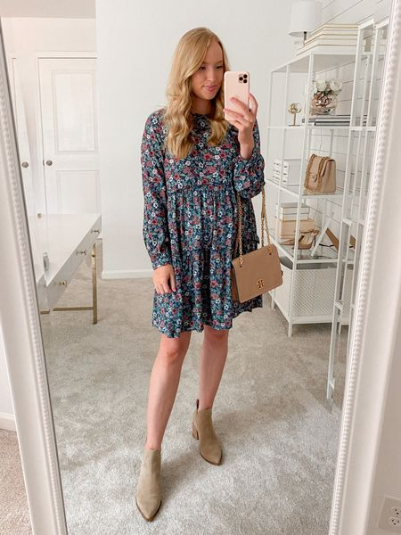 Floral dress is perfect to transition into fall with booties on sale in the Nordstrom Anniversary Sale. Target dress runs a little bit I'm wearing a small and I'm 5'5'' for height reference