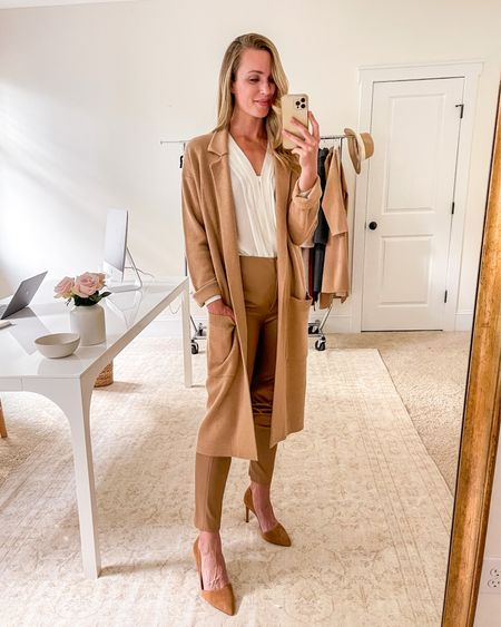 Fall Work Outfits, Fall Workwear, Fall Work Wear, Camel Coatigan, Work Tops, Fall Work Tops, Brown Heels, Business Casual Outfits, Business Professional Outfits  🍂 Fall work outfit with white blouse (old, similar linked), brown pumps (TTS), JCrew coatigan in camel (size down 1-2 sizes), and faux leather pants (TTS). Also linked the tote I'd carry with this business casual look.  #falloutfits #fall #officefriendlyoutfit