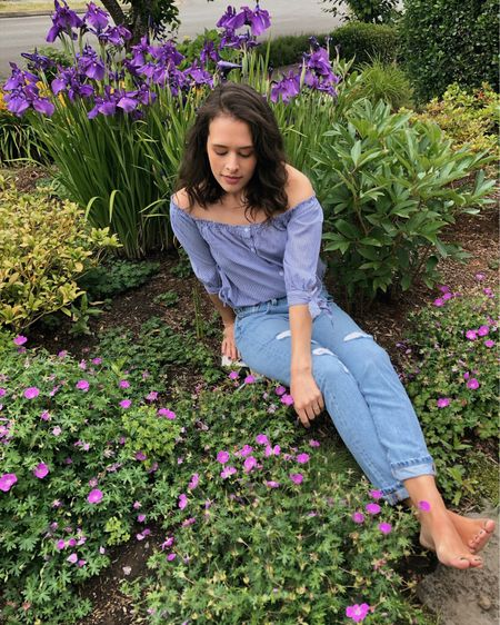 Summer style: something so sweet and romantic about off the shoulder tops! I also love distressed denim from Levi's for a casual chic look. Linked similar tops and jeans in the LTK app!   #LTKtravel #LTKunder100 #LTKstyletip