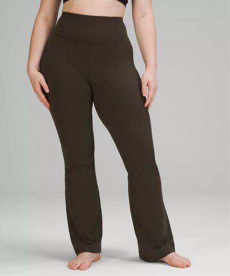 new lululemon alert 🚨 the ever-elusive lululemon Groove Super-High Rise Flared Pant Nulu was just released in Dark Olive! Available in all sizes 0-20!  (lululemon flare pant, lululemon yoga pant, lululemon yoga flare pant)  #LTKHoliday #LTKGiftGuide #LTKfit