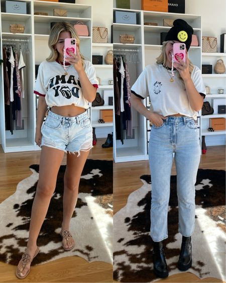 Casual outfit ideas fall outfit ideas graphic T distressed denim black boots homemade T-shirt oversize tee  #LTKunder50 #LTKstyletip #LTKSeasonal