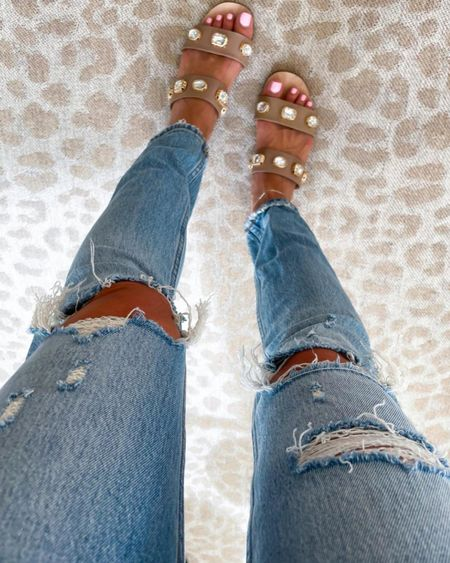 Ripped jeans in 24s studded sandals 15% off with SAMANTHA15 #liketkit @liketoknow.it http://liketk.it/3hYPe #LTKsalealert #LTKunder50 #LTKunder100