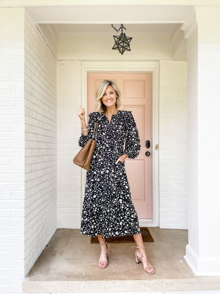 This floral dress can be worn as a teacher outfit to work or for a fall date night!   #LTKunder100 #LTKworkwear #LTKstyletip