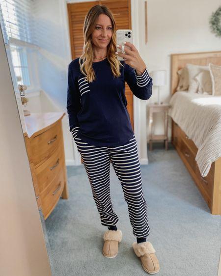 Navy blue striped pajama set and fuzzy slippers  http://liketk.it/2ZBuA #liketkit @liketoknow.it #LTKunder50 #LTKstyletip