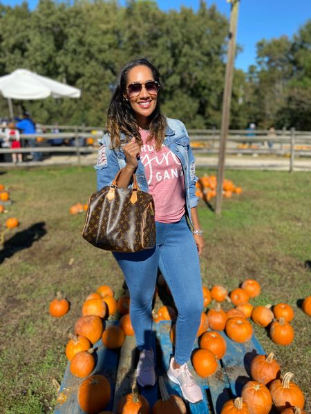"""It was a great day at the pumpkin patch!    I have fully accepted our girl power in our home so I got this $17 shirt from Amazon that says, """"I Run a Girl Gang"""" and I LOVE IT!  Also, can you believe my begging are only $13?!  They are so cute and comfy!    #LTKbump #LTKfamily #LTKunder50"""