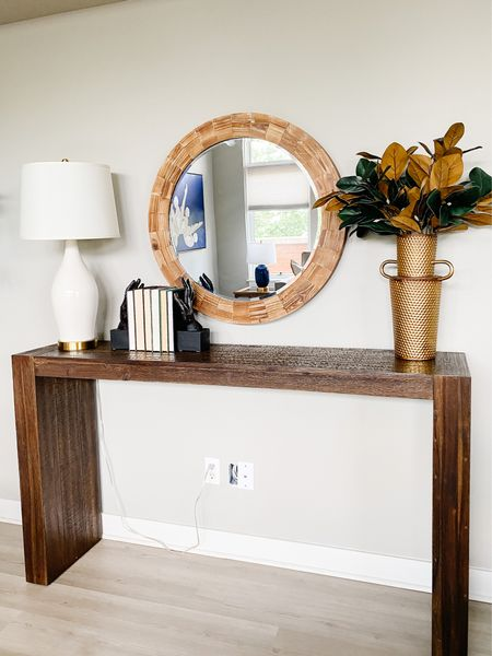 Nothing plan about this solid wood parsons console table.  Console table, console style, parsons table, living room decor, round mirror, white lamps, entryway decor  #LTKhome