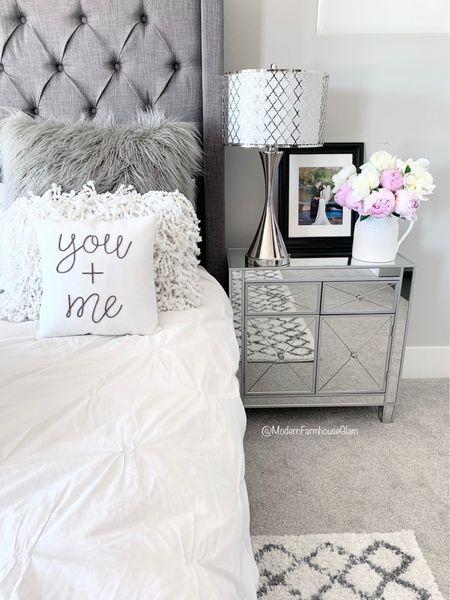Master bedroom furniture, mirrored nightstands, tufted headboard, tufted platform bed, nightstand lamp, table lamp, bedroom rug, bedding, duvet cover, Wayfair, home decor, a Modern Farmhouse Glam   #LTKhome #LTKSeasonal #LTKsalealert
