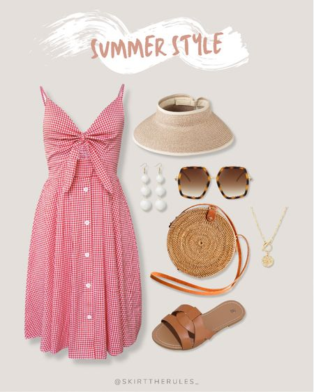 Amazon finds, Amazon fashion, beach vacation outfit, summer outfit, summer style, summer dress: straw visor, red gingham dress, tie front dress, white drop earrings, tortoise sunglasses, straw circle bag, gold coin necklace, brown slide sandals, brown sandals. @liketoknow.it http://liketk.it/3iVTc #liketkit #LTKunder50 #LTKstyletip