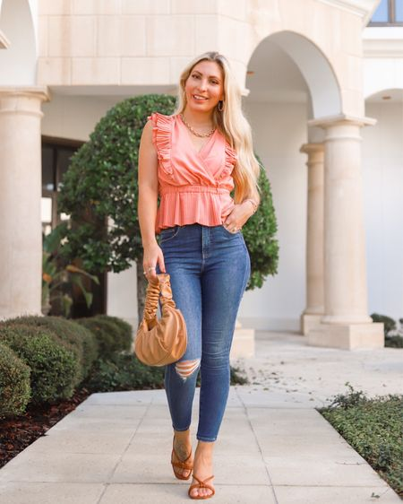 Who's ready for fall colors?! 🍁🍂 #ExpressPartner It right around the corner and these jeans 👖 from @express are perfect for your fall/winter wardrobe. I love that they come in 4 lengths. I'm a petite so #Express is one the few places I have been shopping from for years to get the perfect length for my height. My exact jeans are 50% off right now and there are a ton of select styles BOGO 50% off. This pleated peplum top comes in 4 colors for transitioning to fall. #ExpressYou ⠀⠀⠀⠀⠀⠀⠀⠀⠀ Style Details: Jeans 07190774 Dark Wash 20 Top 08627439 Terra Cotta 2680 Similar Bag 01103863 Camel 410 Shoes 09879696 Cognac 474 Earrings 00769450 Gold Necklace 00269759 Gold . . . #august2021 #fallstyle #falltransition #falljeans #expressjeans #expressdenim #qualityoverquantity #fallstyled #fallfashion #petitestyle #personalstyle #streetstyle #stylingdenim #skinnydenim #sizeinclusivity #thefashionableaccountant  #LTKstyletip #LTKunder100 #LTKsalealert