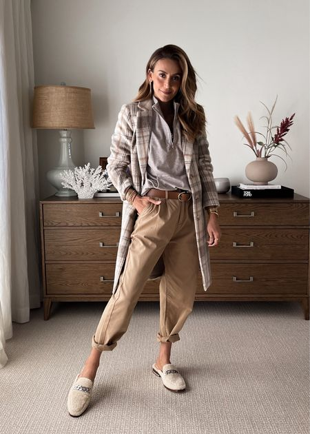 EVEREVE half zip up pullover small Neutral Plaid coat - in love w these colors xs Pleated trouser, size down for a more fitted look or stay tts (pictured) for a looser fit  Sherpa slip on loafers - leather belt Fall fashion- gall outfits   #LTKshoecrush #LTKstyletip #LTKSeasonal