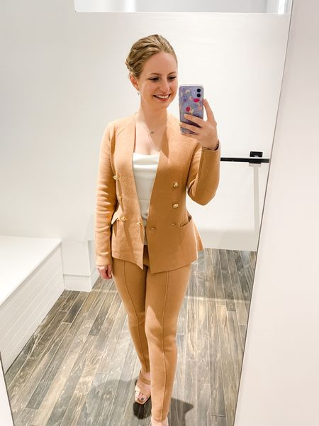 Knit suiting set from Express. Wearing an XS in both although I would like to try a Petite S in the pants.   #LTKsalealert #LTKSeasonal #LTKworkwear
