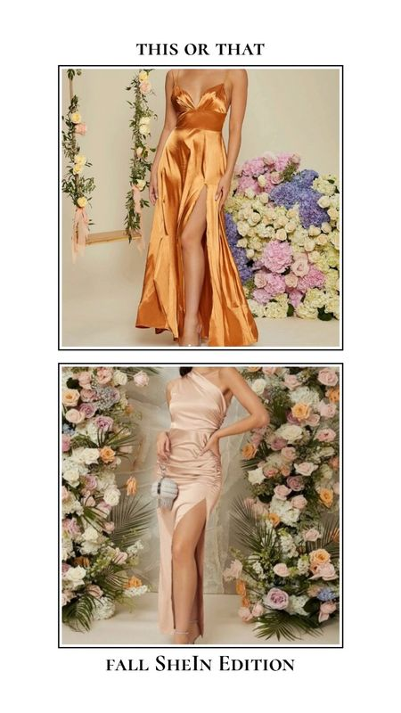Fall SheIn finds - This or that. Fun colors or neutrals? Find the perfect wedding guest dress for under $30! These silky satin dresses are perfect!  #LTKwedding #LTKunder50 #LTKSeasonal