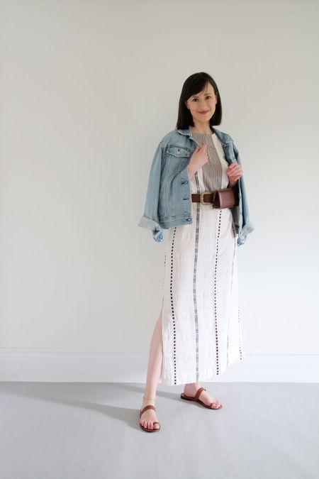Style Theme - Dresses - Look 6  Dress is old Ace & Jig (similar linked) Jacket old Everlane (very similar option linked) Sandals Jenni Kayne (Use LEE15 for 15% Off) Belt bag by Atelier Batac (similar linked, use LEEV20 for 20% Off)