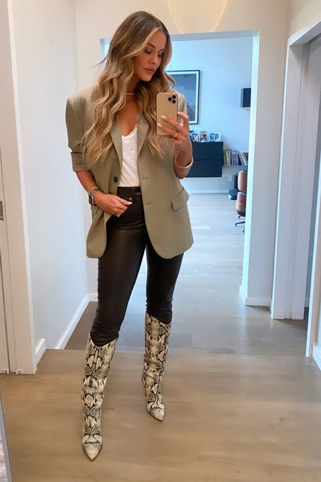 Last nights look // Sizing notes: Blazer is already very oversized, I took a medium.  Chocolate brown Vegan leather jeans run TTS, I'm in 28. And they're 50% off & also come in black!   #LTKstyletip #LTKshoecrush #LTKsalealert