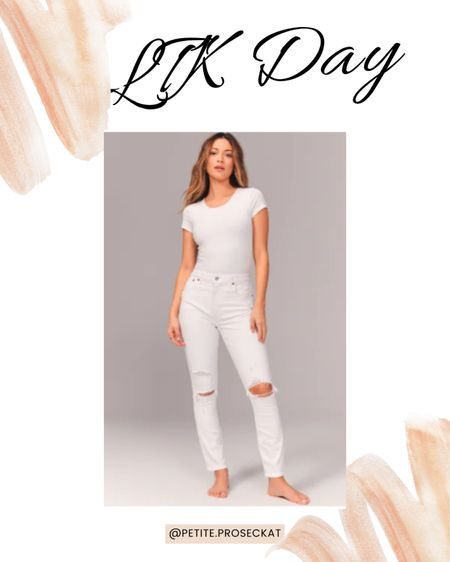 LTK DAY IS HERE! 20% off abercrombie! I love these distressed white jeans for the summer! Pair it with the buttery soft bodysuit or a classic tee!  Download the LIKEtoKNOW.it shopping app to shop this pic via screenshot #liketkit @liketoknow.it http://liketk.it/3hkd7